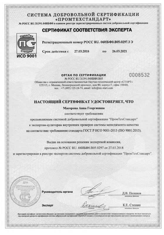 Сертификат соответствия эксперта